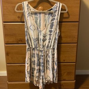 Forever 21 Pink, Grey, and White Patterned Romper